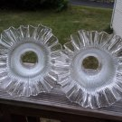 Vintage Art Deco scalloped pressed clear glass lampshades embossed frilly edges
