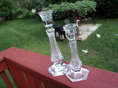 CUT Crystal clear Hexagon Criss Cross Diamond Candlesticks/ Holders TAPER 2pcs
