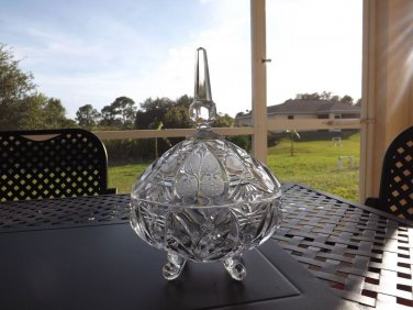 Vintage Cut GERMAN CRYSTAL Glass Covered Lidded Candy Dish Footed Compote