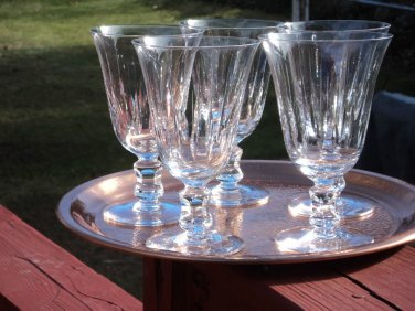 EXQUISITE ELEGANT 5 pc lot Hand Cut Crystal Water Wine Goblets heavy w/thin bowl