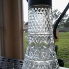 "Vintage Cut Glass and Silverplate Pitcher/Decanter 12.50"". Crystal. Metal."