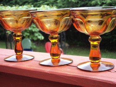 IMPERIAL GLASS Ohio 3 pcs OLD WILLIAMSBURG Amber CHAMPAGNE Goblet DESSERT Glass