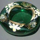 Vintage handpainted enameled Bohemian blown Crystal glass ashtray emerald green