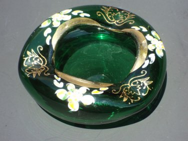 Vintage handpainted enameled Bohemian blown Crystal glass ashtray emerald green