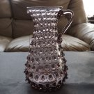 VTG  AMETHYST GLASS HOBNAIL VASE CRIMPED RUFFLED PITCHER ART GLASS, SIGNED
