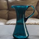 Vintage Hand-Blown Aqua Blue Glass Ewer Pitcher applied handle