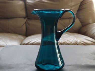 Vintage Hand-Blown Aqua Blue Glass Ewer Pitcher applied handle