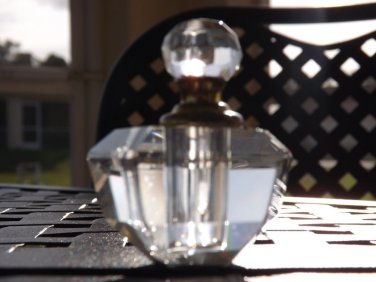 RARE Signed Murano Crystal Perfume Bottle,dauber screws on. CLEAR. ITALY.