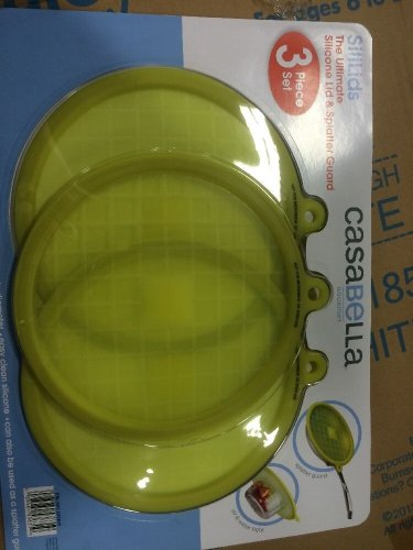 """Casabella 3Pc Set Silicone Lid and Splatter Guard Fits containers/bowls up to 9"""""""