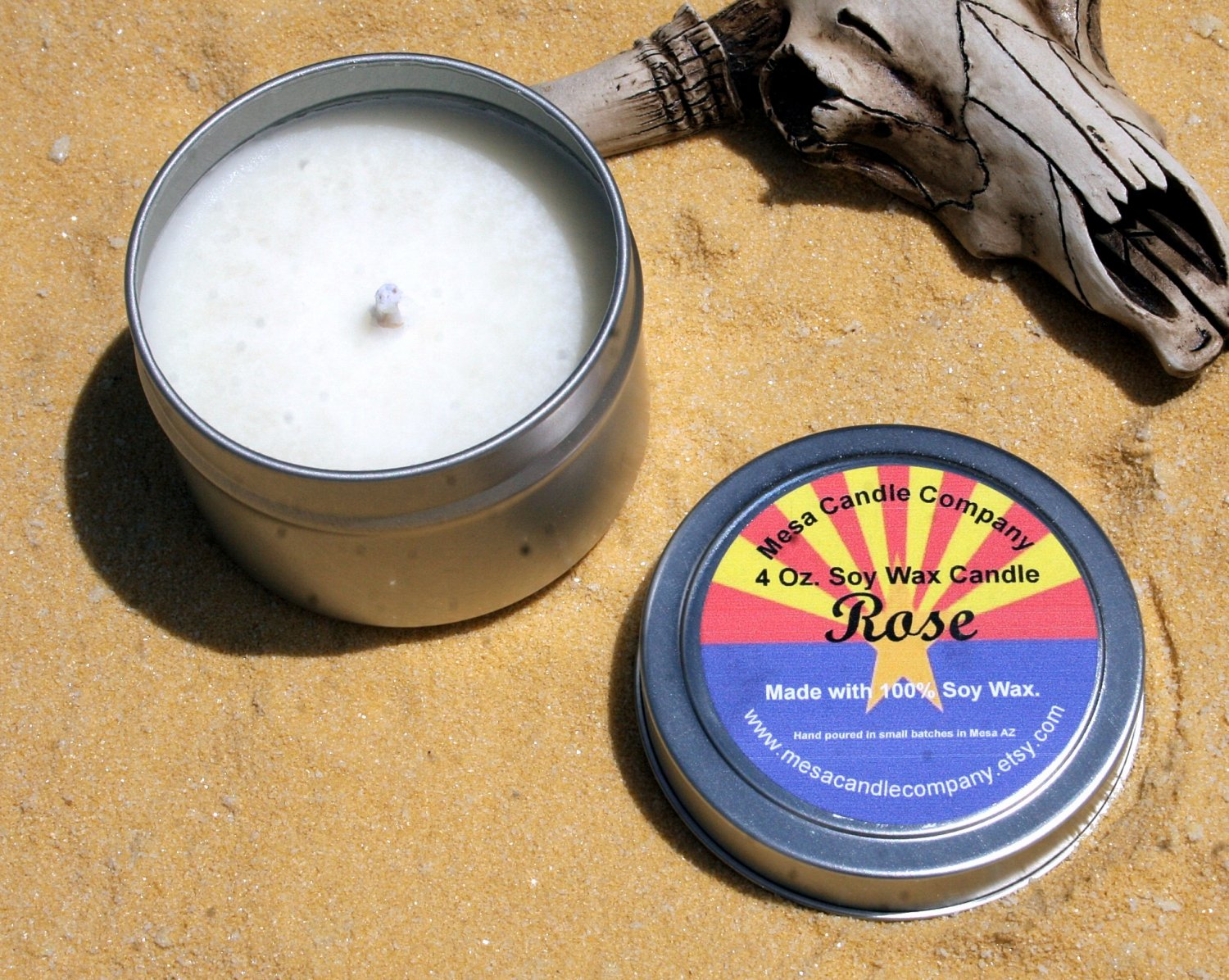 Rose Scented Soy Candle 4 Oz.