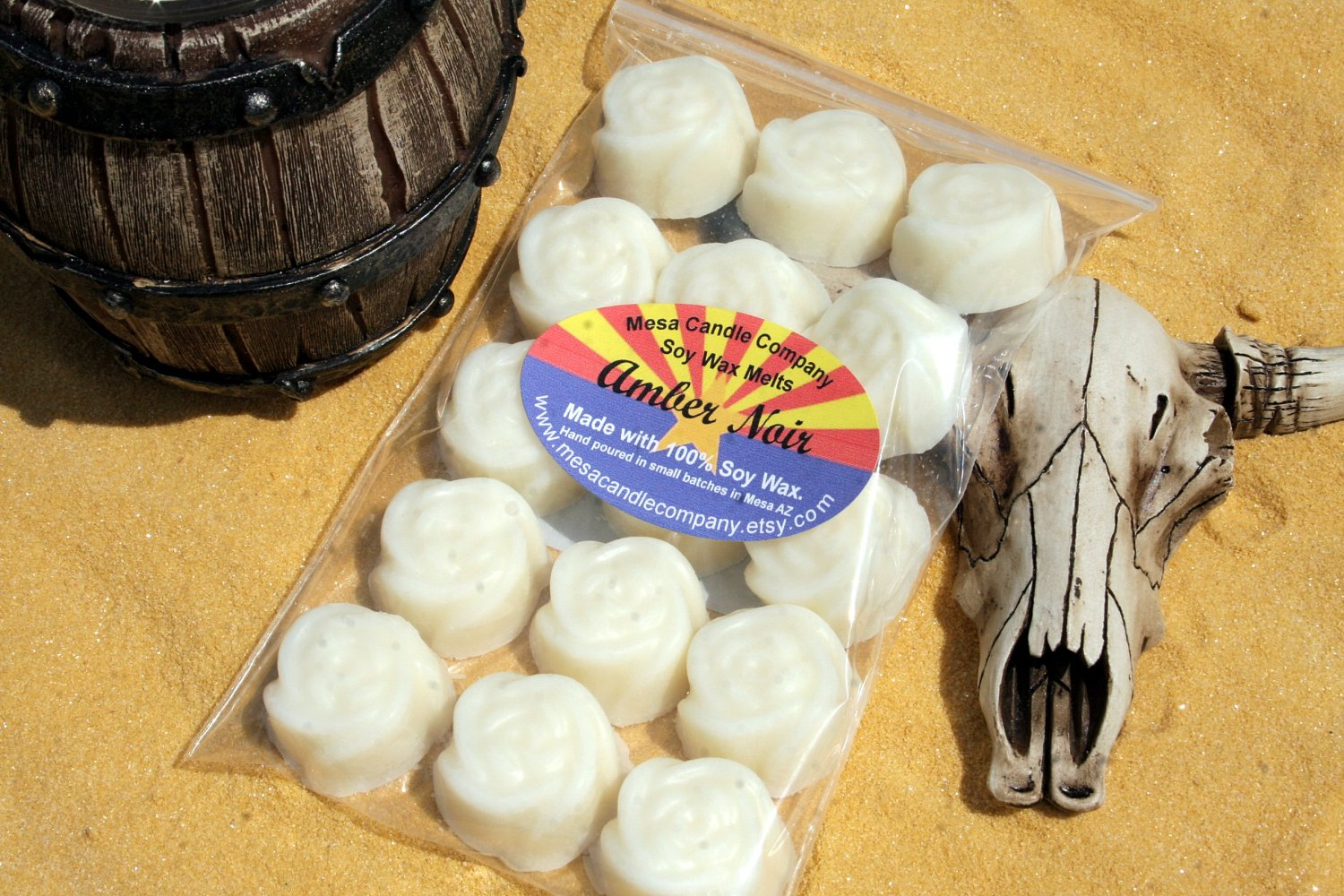 """Amber Noir Scented Soy Wax Melts """"Desert Rose"""" Style"""
