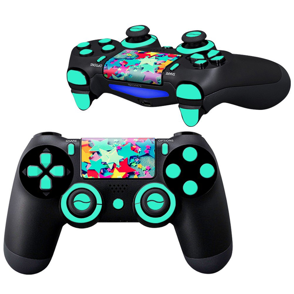 Colored Plastic Stars design PS4 Controller Full Buttons skin