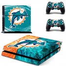Miami Dolphins old logo decal for PS4 PlayStation 4 console and 2 controllers