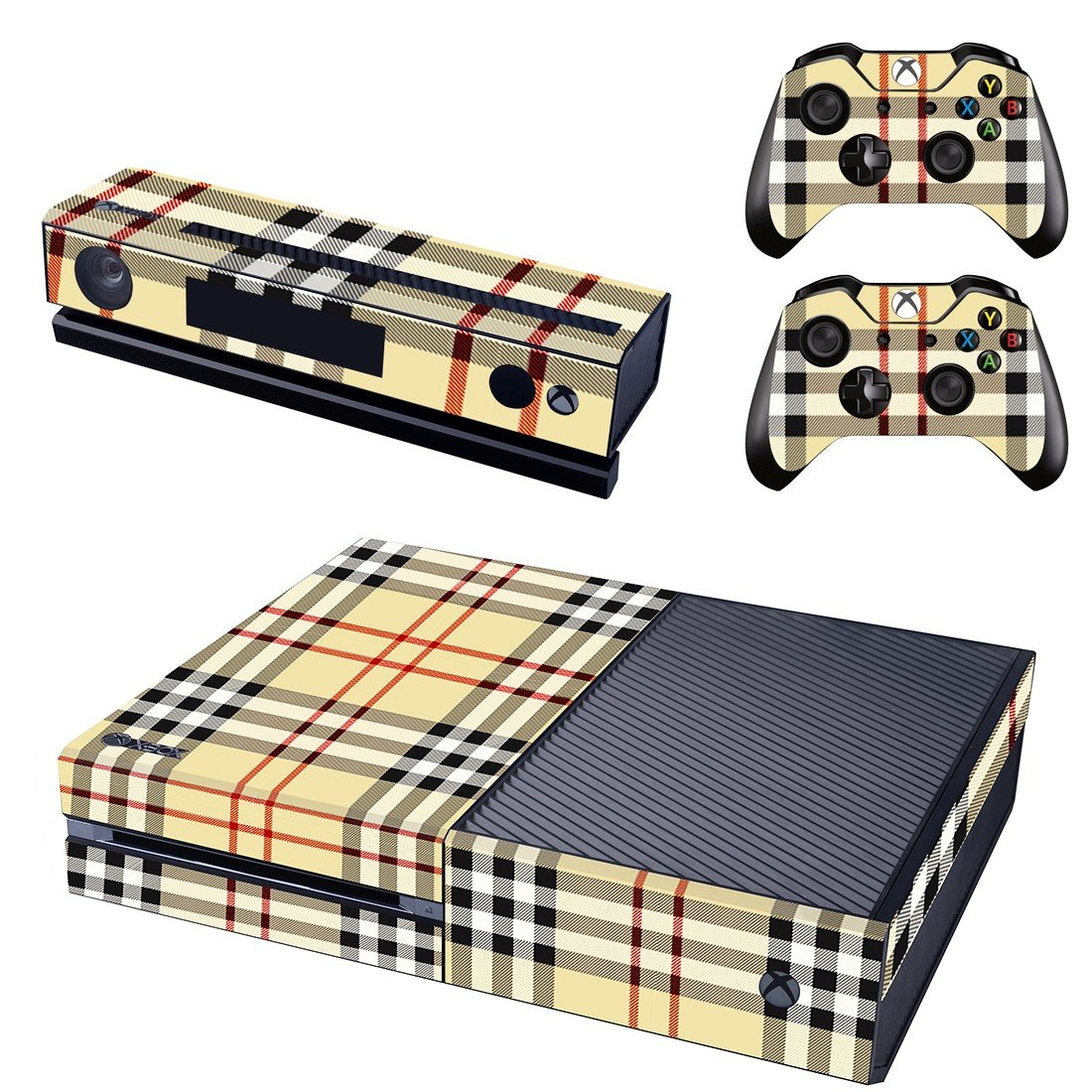 check shirt design skin decal for  Xbox one console and controllers