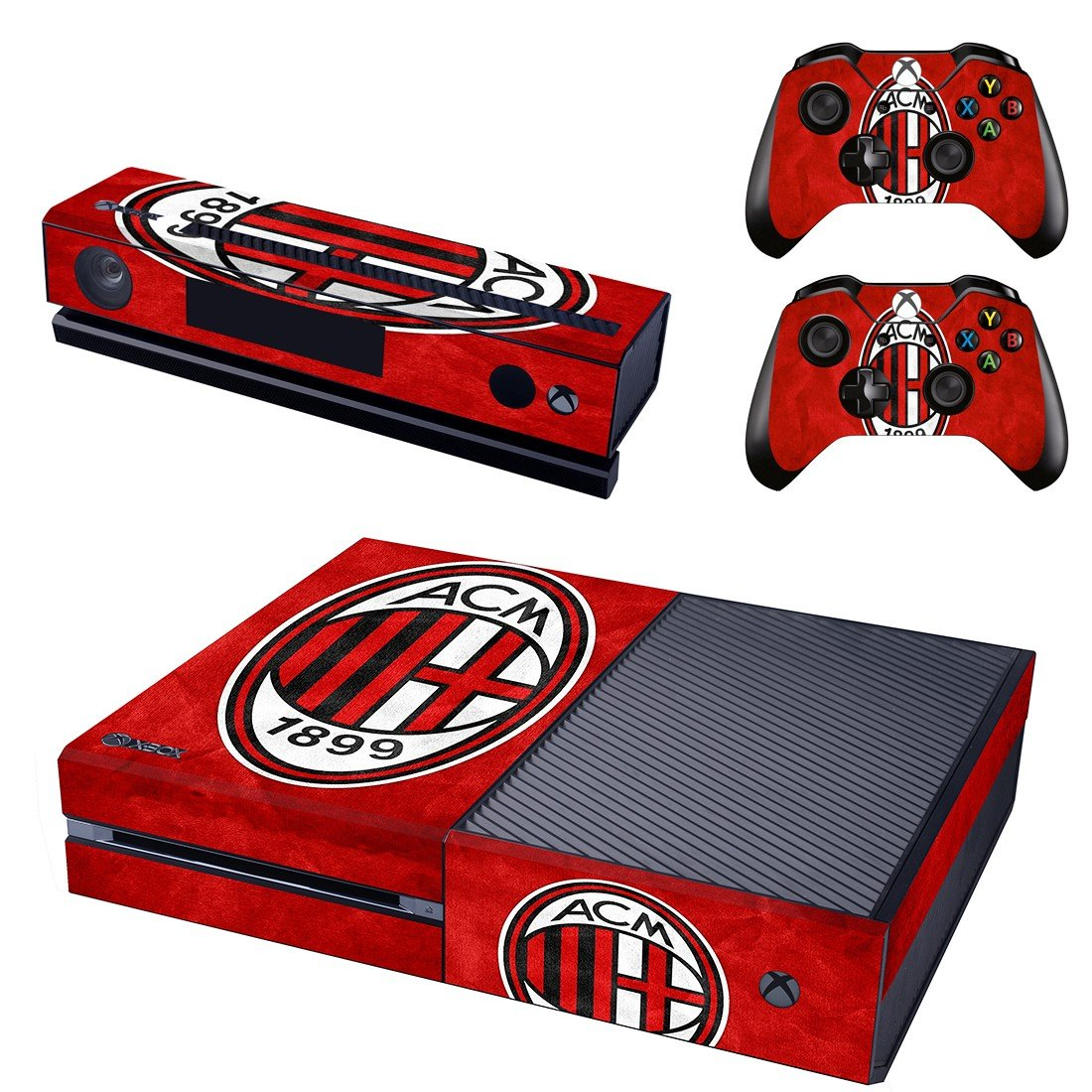 red acmilan 1899 skin decal for  Xbox one console and controllers