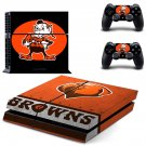 cleveland browns football team ps4 skin decal for console and controllers