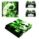 green skul Play Station 4 slim skin decal for console and 2 controllers