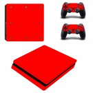 red skin Play Station 4 slim skin decal for console and 2 controllers