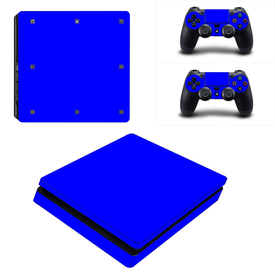 blue skin Play Station 4 slim skin decal for console and 2 controllers