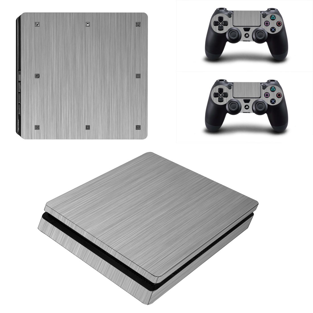 wooden Play Station 4 slim skin decal for console and 2 controllers