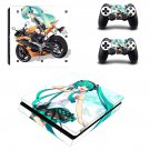 Anime Girl Play Station 4 slim skin decal for console and 2 controllers