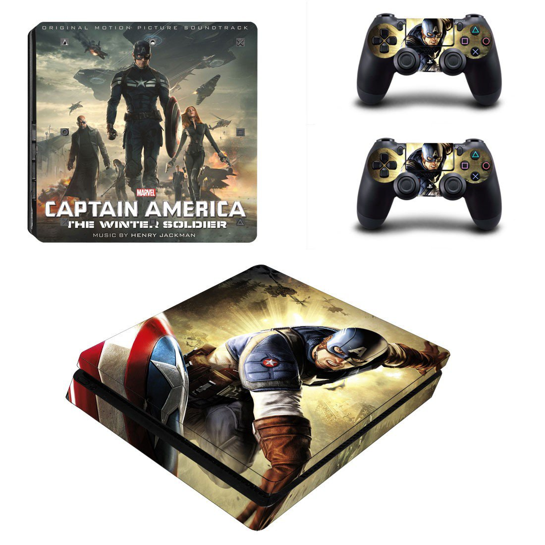 Captain America the winter soldier Play Station 4 slim skin decal for console and 2 controllers
