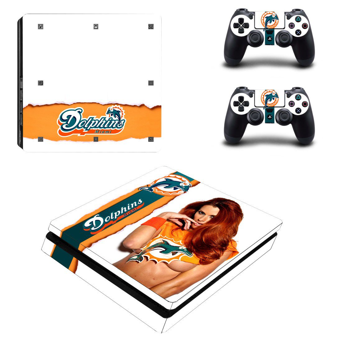 Miami Dolphins Play Station 4 slim skin decal for console and 2 controllers