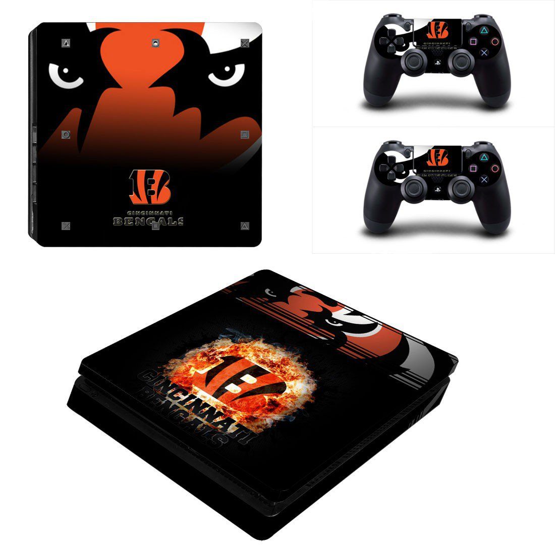 Cincinnati Bengals Play Station 4 slim skin decal for console and 2 controllers