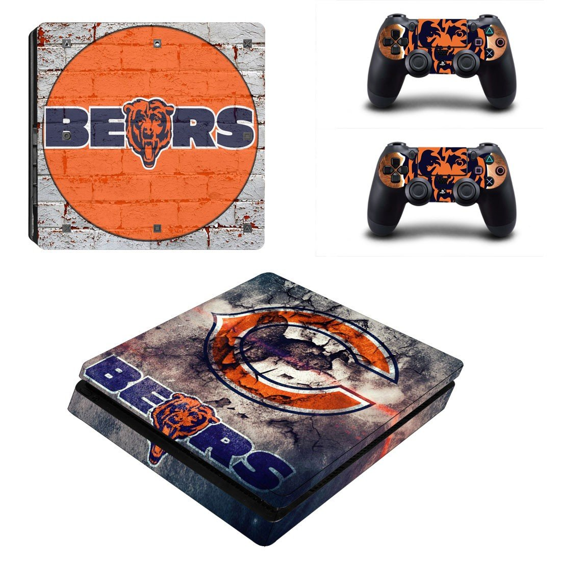 Chicago Bears Play Station 4 slim skin decal for console and 2 controllers