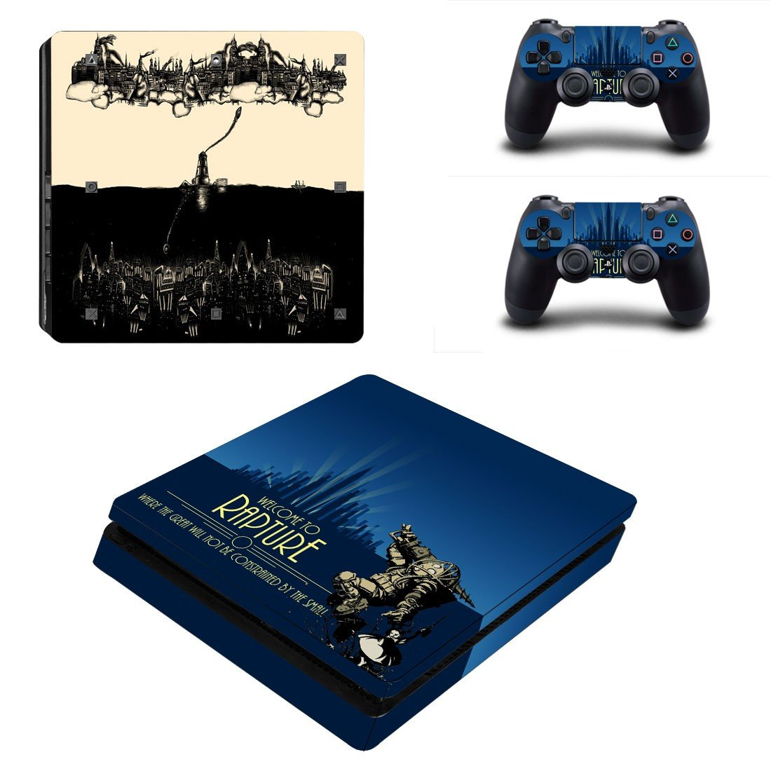 Welcome to Rapture Play Station 4 slim skin decal for console and 2 controllers