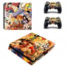 One Piece Play Station 4 slim skin decal for console and 2 controllers