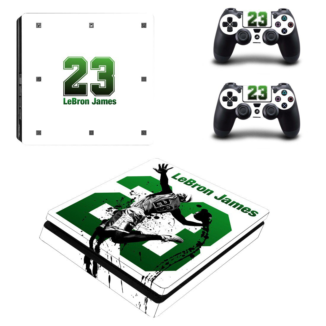 Lebron James Play Station 4 slim skin decal for console and 2 controllers