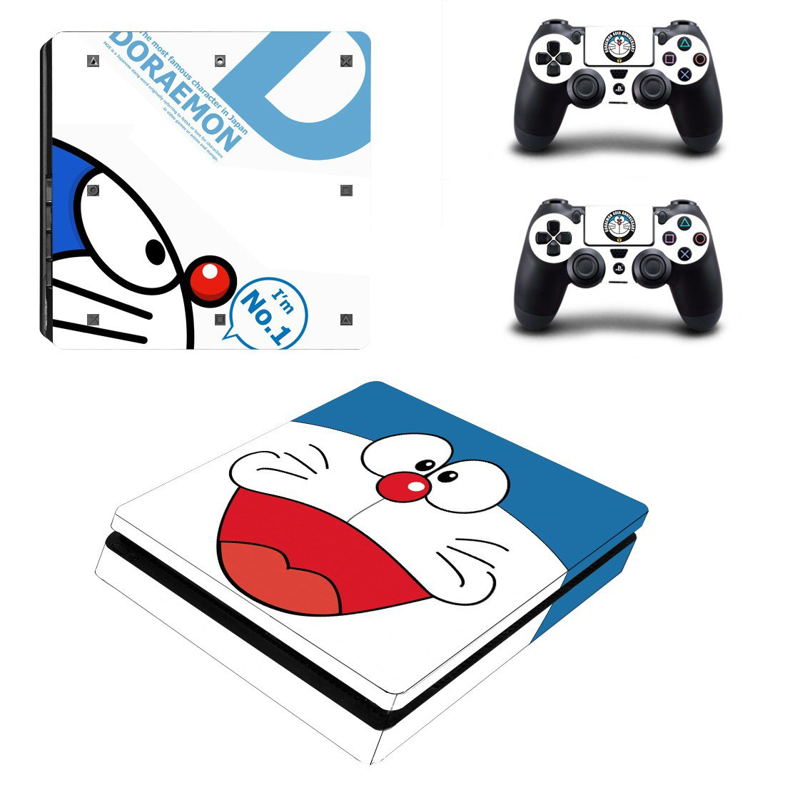 Doraemon Play Station 4 slim skin decal for console and 2 controllers