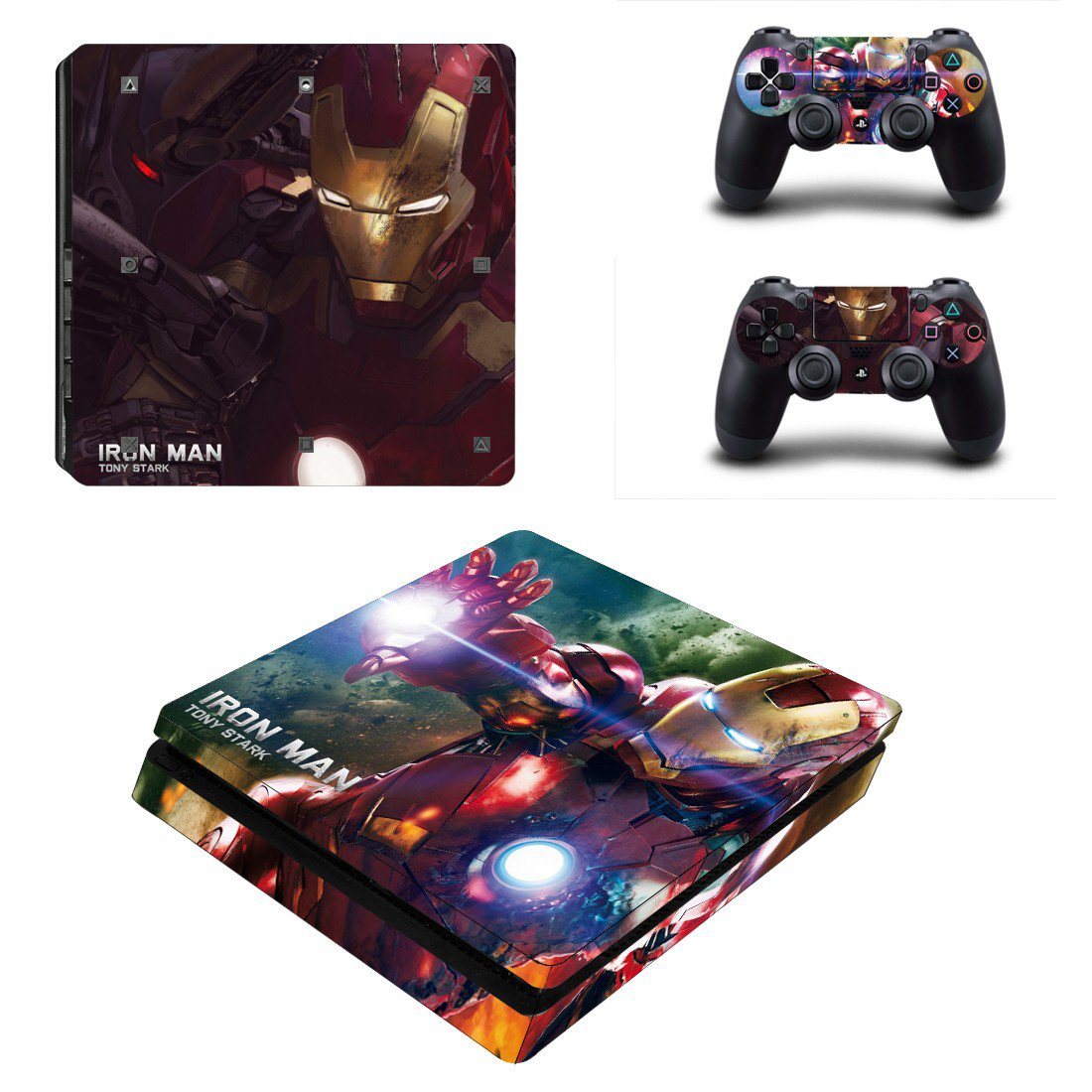 Ironman Tony Stark Play Station 4 slim skin decal for console and 2 controllers