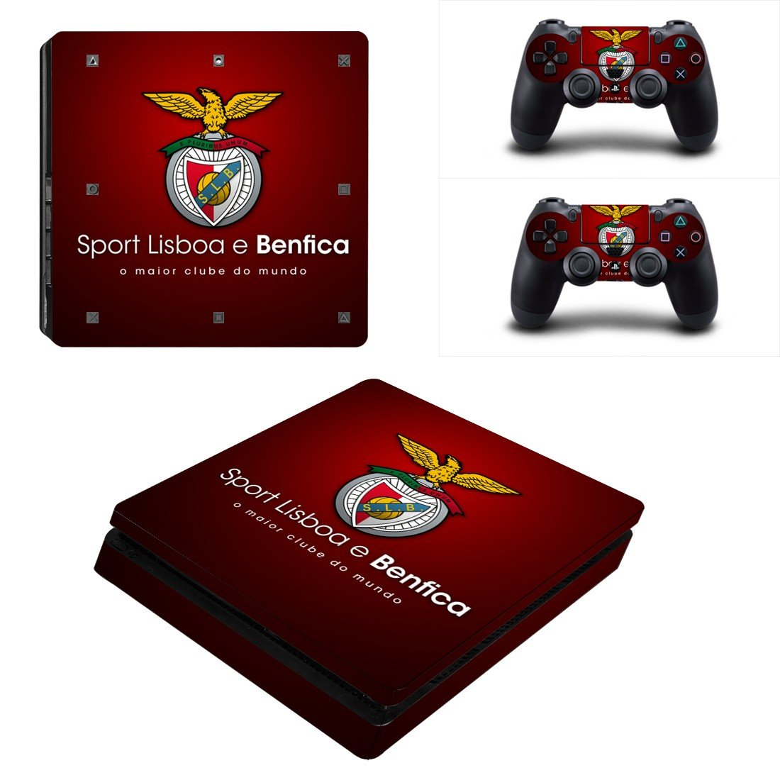 S.L. Benfica Play Station 4 slim skin decal for console and 2 controllers