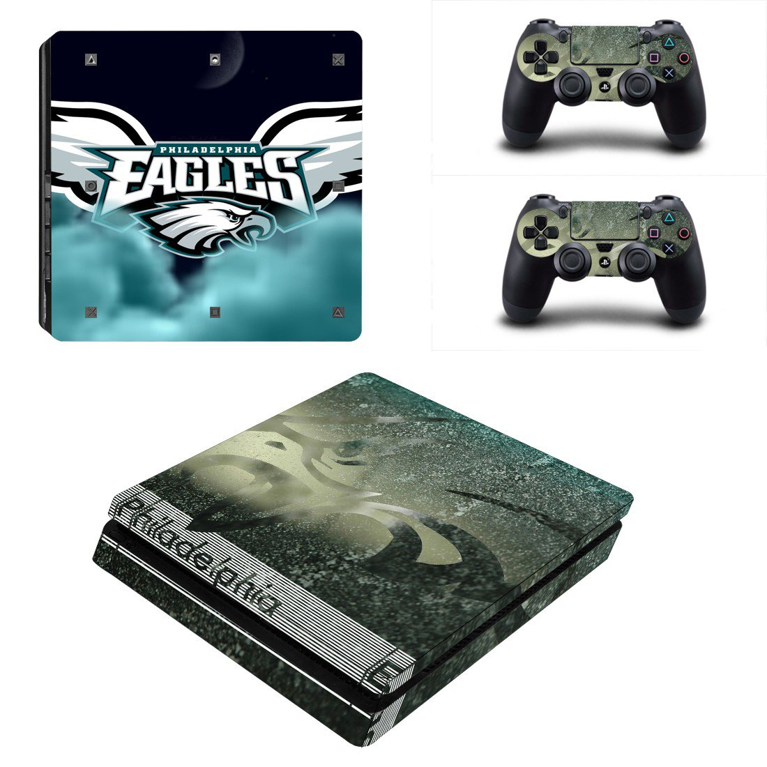 Philadelphia Eagles Play Station 4 slim skin decal for console and 2 controllers