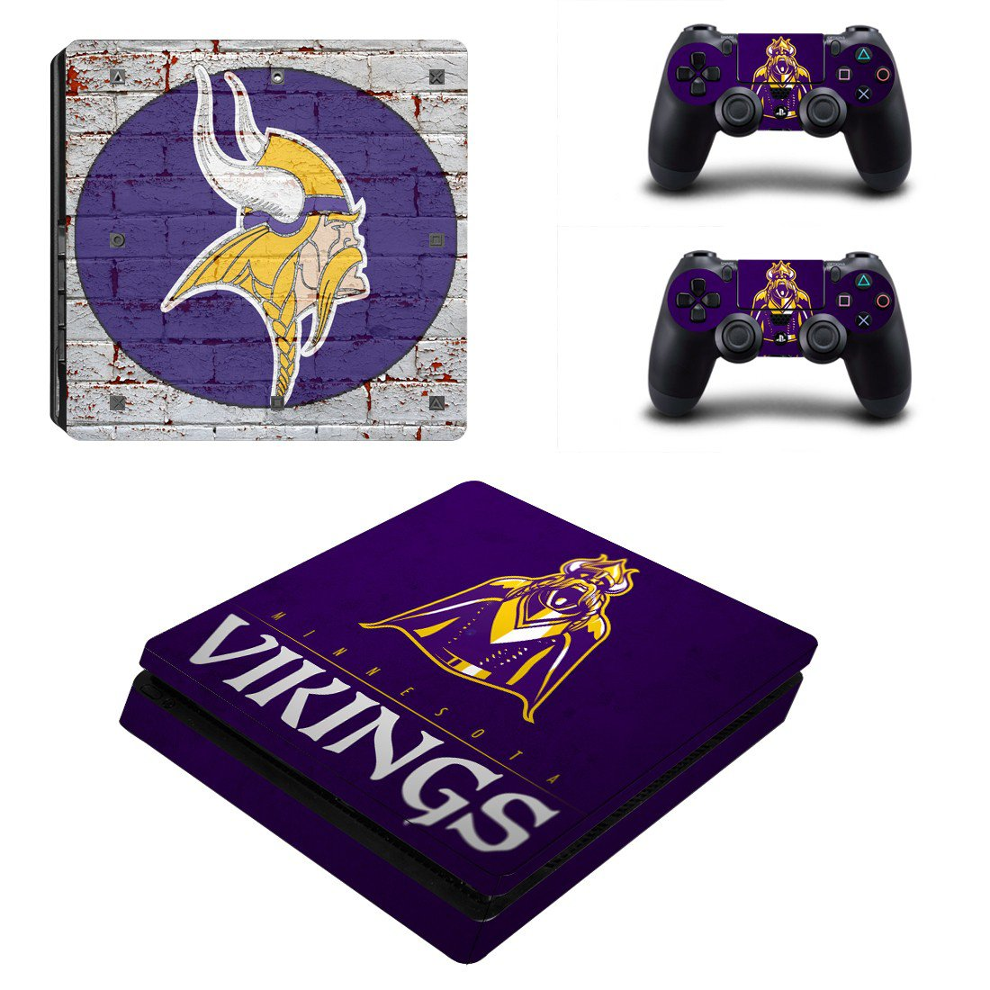 Minnesota Vikings Play Station 4 slim skin decal for console and 2 controllers