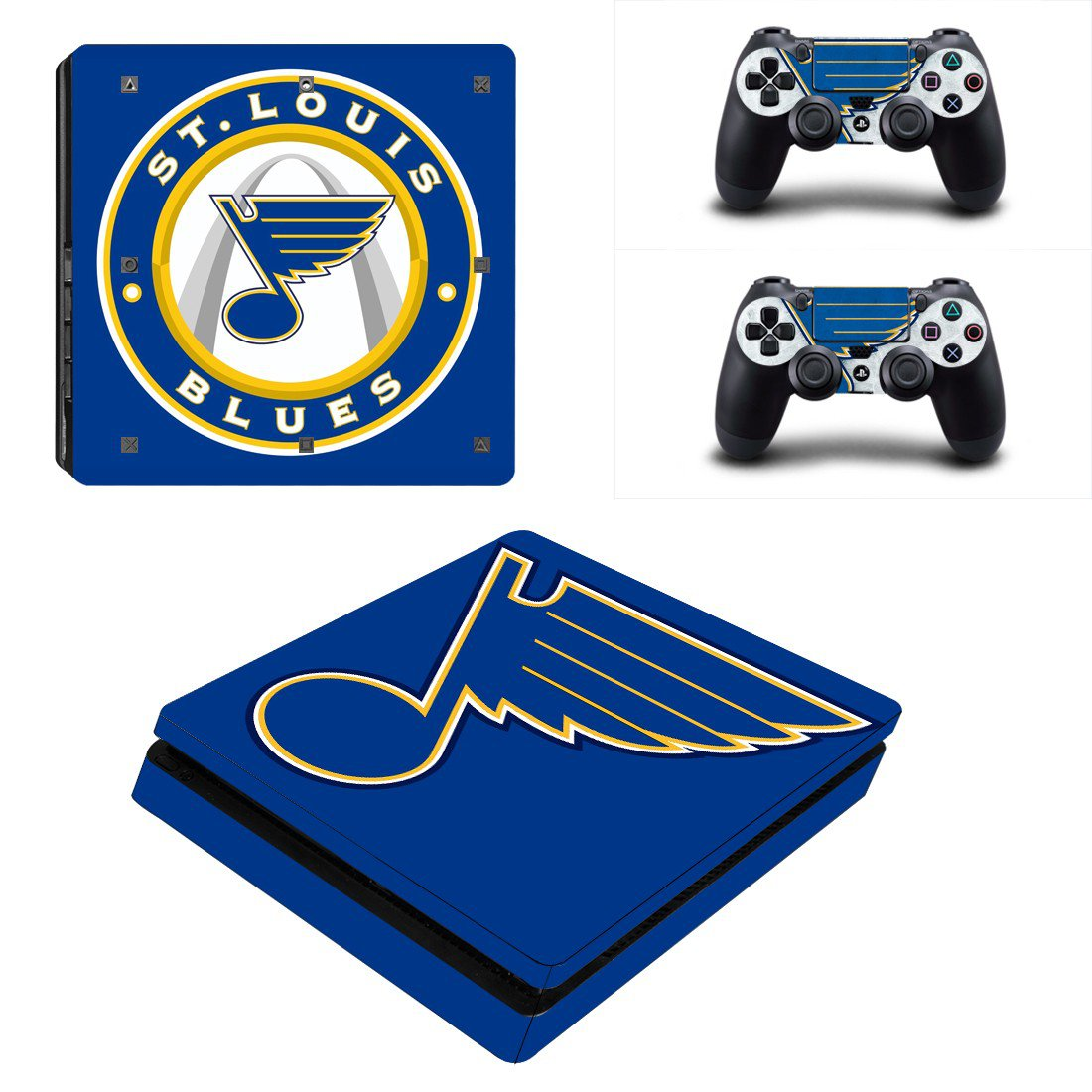 St. Louis Blues Play Station 4 slim skin decal for console and 2 controllers
