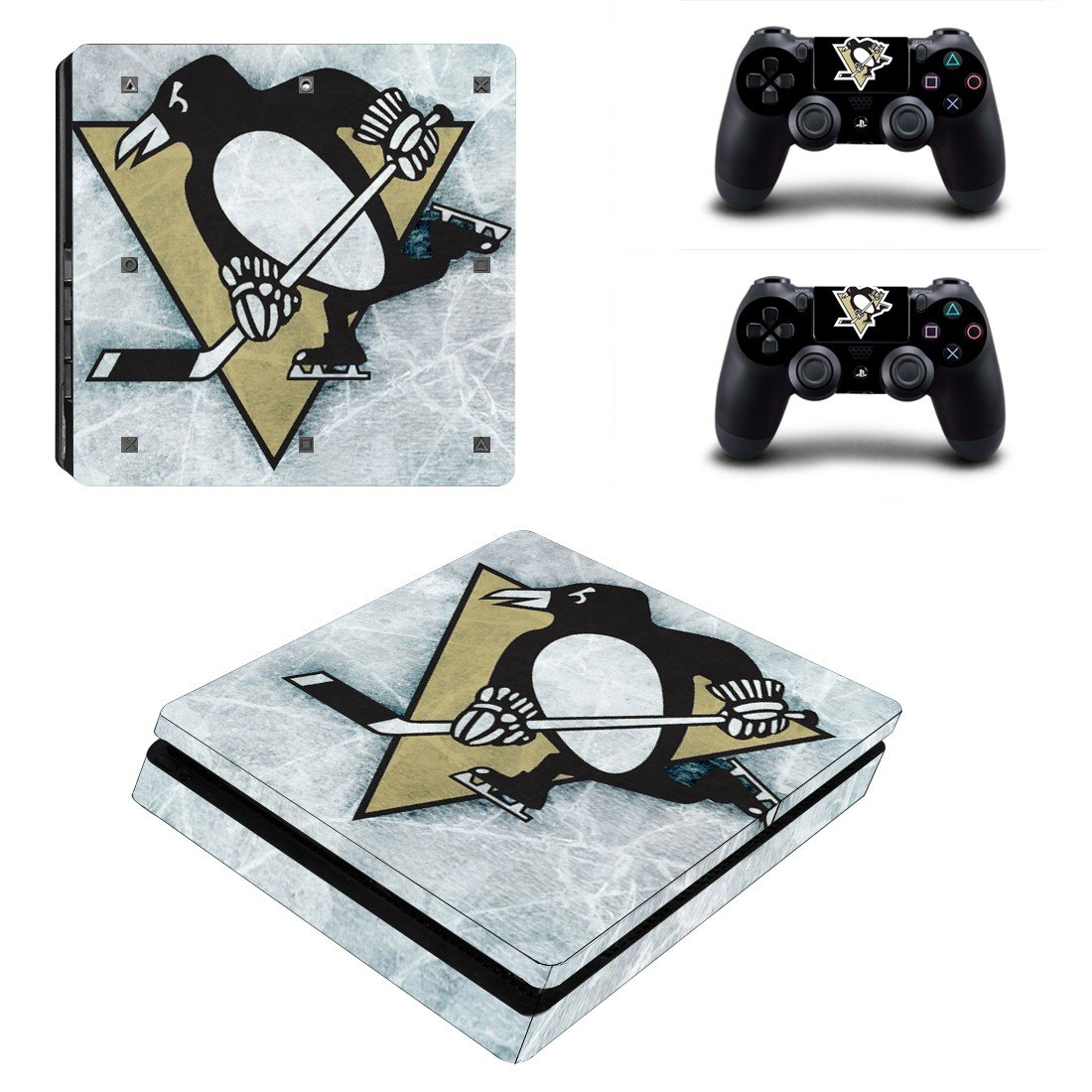 pittsburgh penguins ice logo Play Station 4 slim skin decal for console and 2 controllers