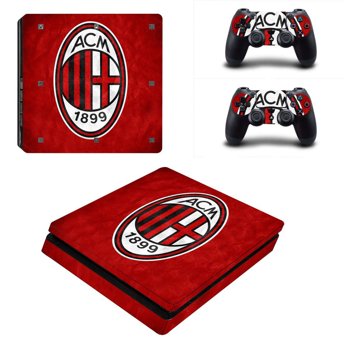 AC milan Play Station 4 slim skin decal for console and 2 controllers