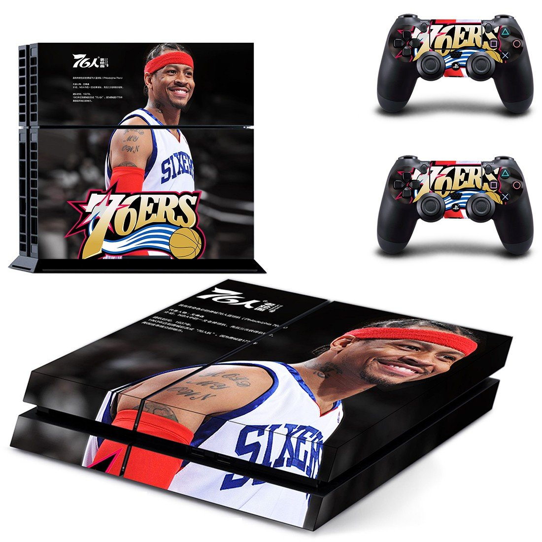 Philadelphia 76ers ps4 skin decal for console and controllers