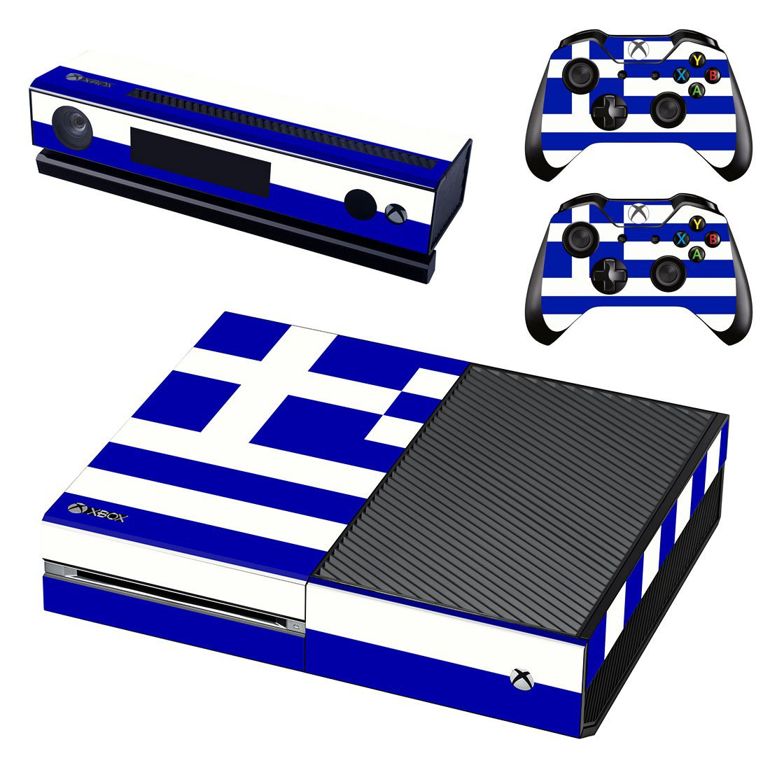White Blue Color skin decal for Xbox one console and controllers