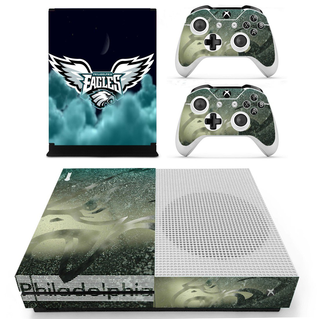 Philadelphia Eagles skin decal for Xbox one S console and controllers