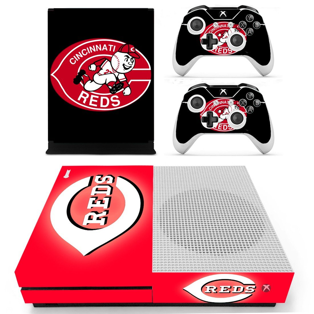 Cincinnati Reds skin decal for Xbox one S console and controllers