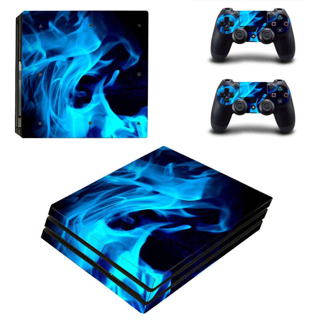 Blue Fires ps4 pro skin decal for console and controllers