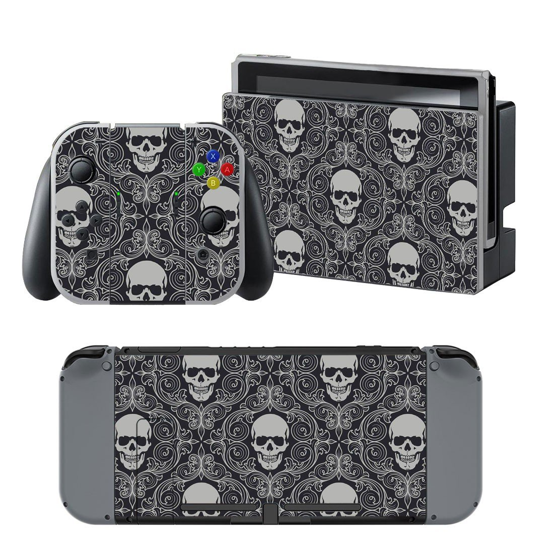 Colorless Skulls design decal for Nintendo switch console sticker skin