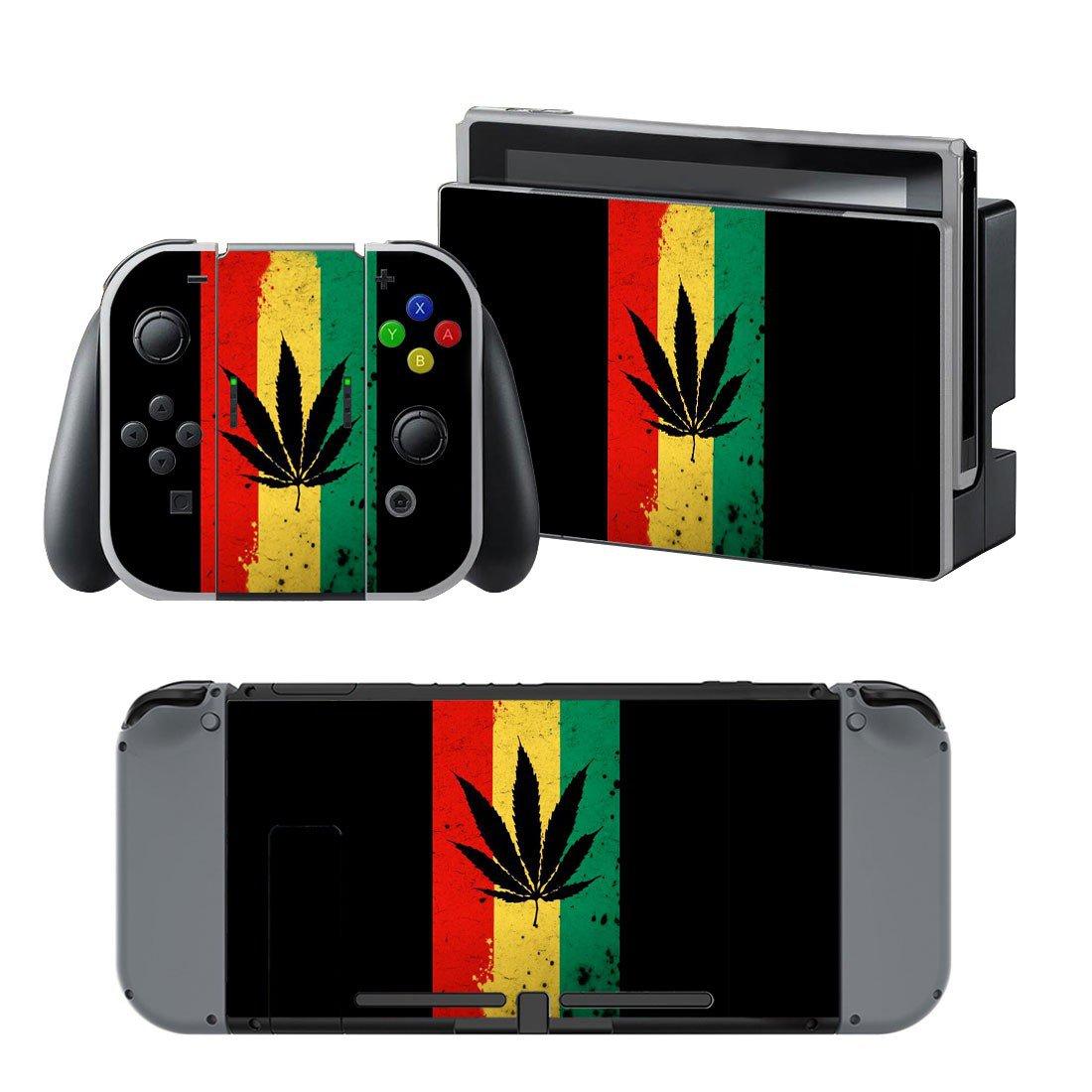 Cannabis Leaf design decal for Nintendo switch console sticker skin