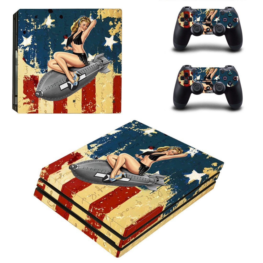 American Girl ps4 pro skin decal for console and controllers