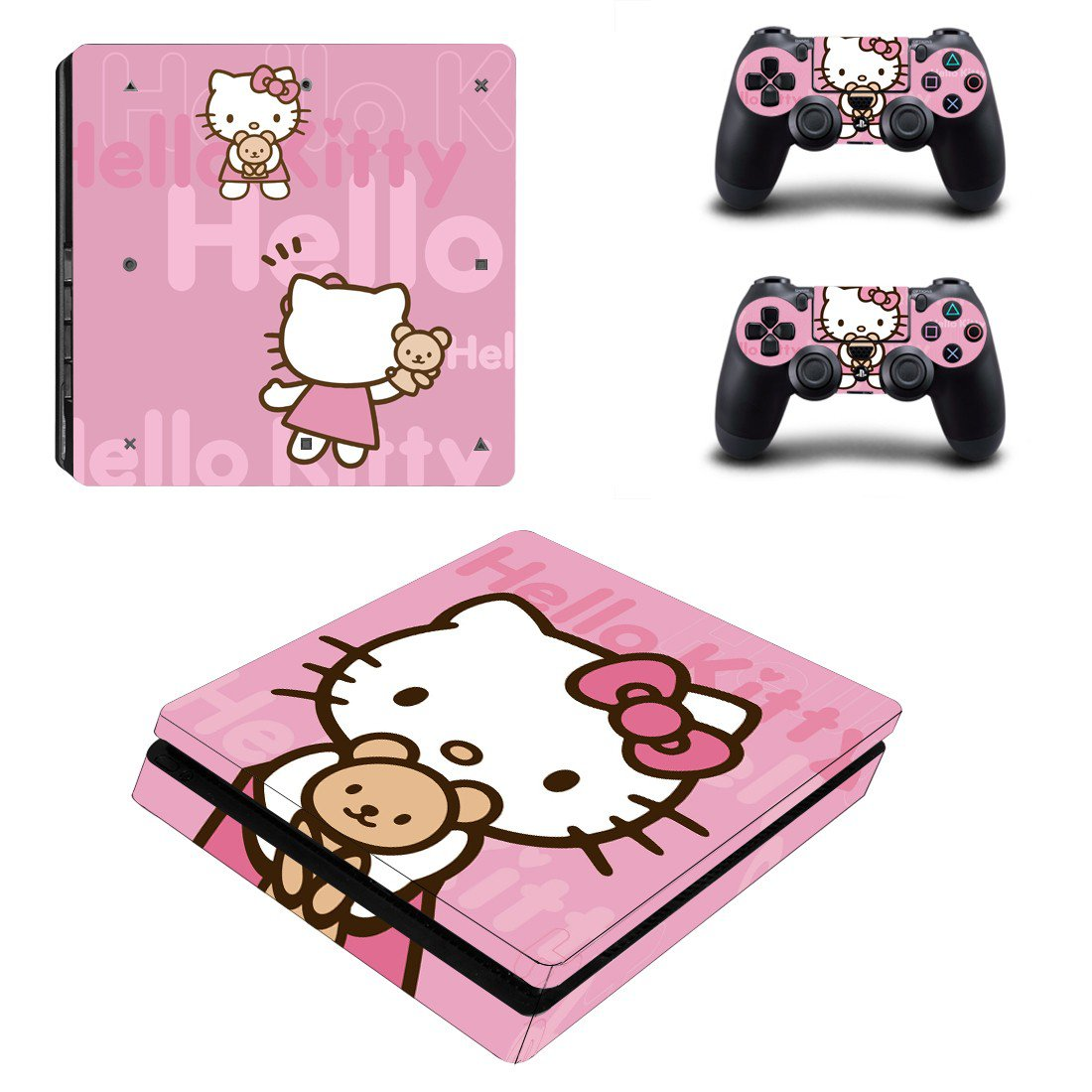 Hello Kitty ps4 slim edition skin decal for console and controllers