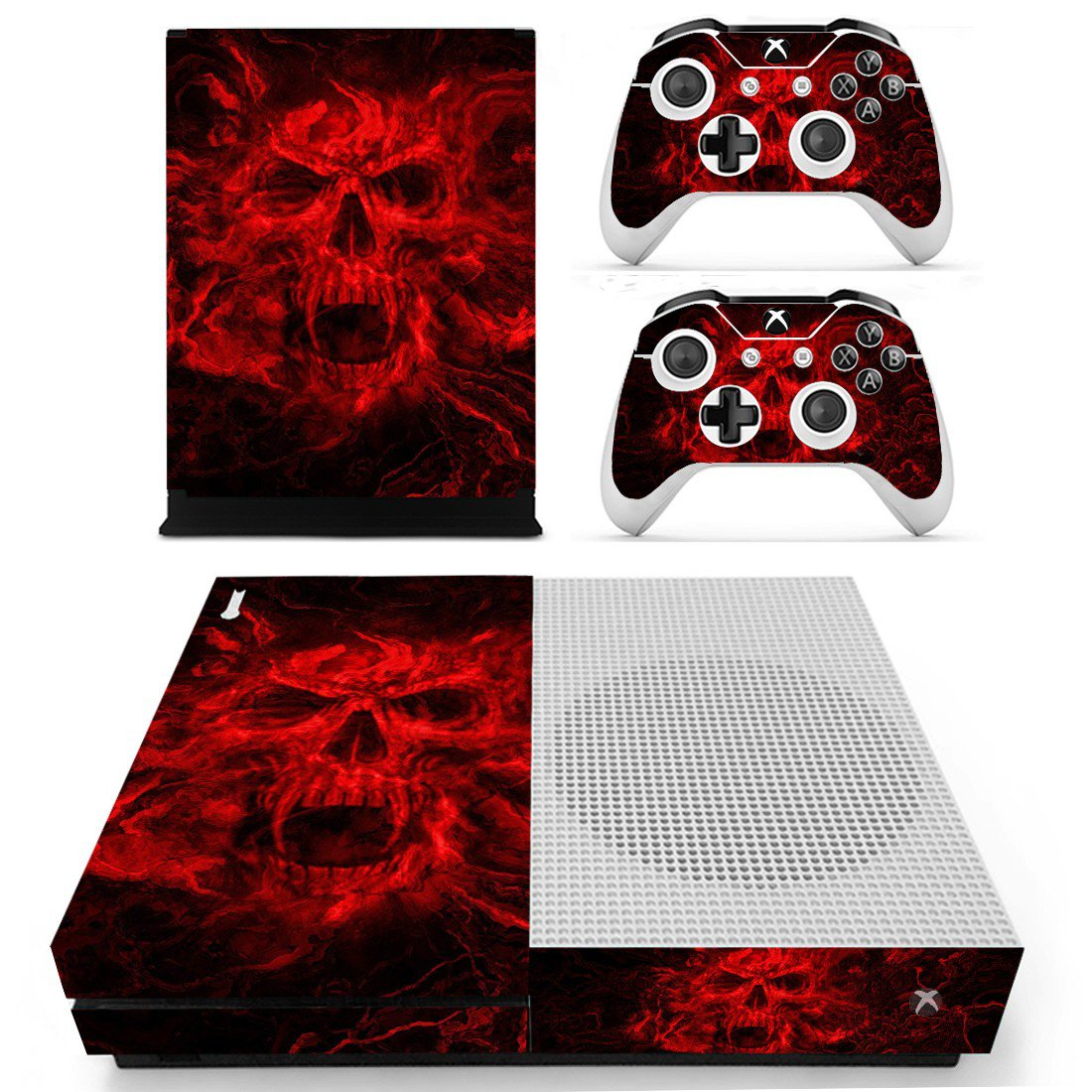 Fire Skull skin decal for Xbox one S console and controllers